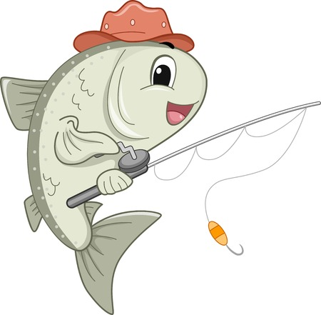 Mascot Illustration Featuring a Mascot Holding a Fishing Reel Vector