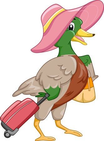 Mascot Illustration Featuring a Mallard All Geared Up for Travel Vector