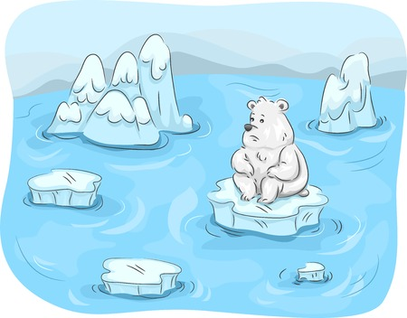 climate change: Mascot Illustration Featuring a Polar Bear Surrounded by Melting Ice