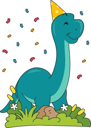 Illustration Featuring a Brontosaurus Wearing a Birthday Hat