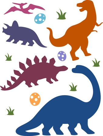 Illustration Featuring Silhouettes of Different Dinosaurs Vector
