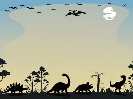 Background Illustration Featuring the Silhouettes of Dinosaurs Vector