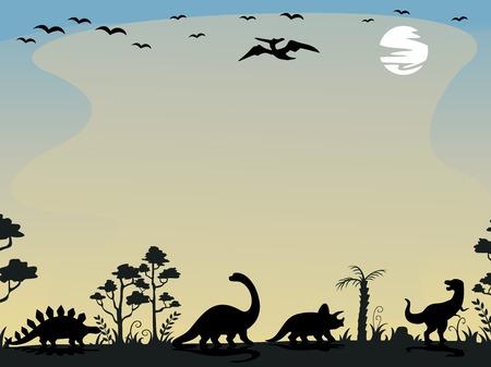 dinosaurio caricatura: Ilustración del fondo que ofrece las siluetas de los dinosaurios