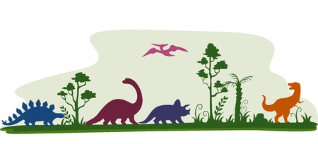 恐竜: 恐竜のシルエットを特色枠イラスト  イラスト・ベクター素材