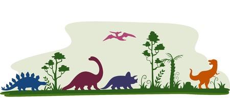 dinosaurio: Ilustración frontera que ofrece la Siluetas de dinosaurio Vectores