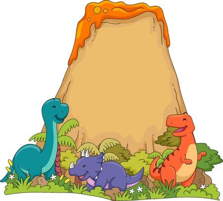 playmates: Ilustración con Dinosaurios que juegan cerca de un volcán