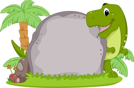 trex: Frame Illustration Featuring a T-Rex Peeking from Behind a Stone Slab