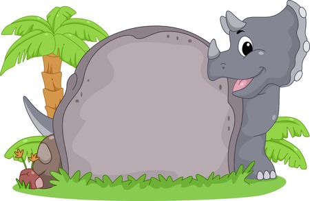 slab: Frame Illustration Featuring a Triceratops Peeking from Behind a Stone Slab Illustration