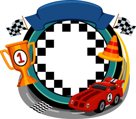 Frame Illustration Featuring Car Racing Items