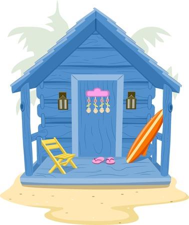 해변 오두막을 갖춘 배경 일러스트 레이션