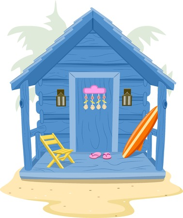 wooden hut: Background Illustration Featuring a Beach Cabin Illustration
