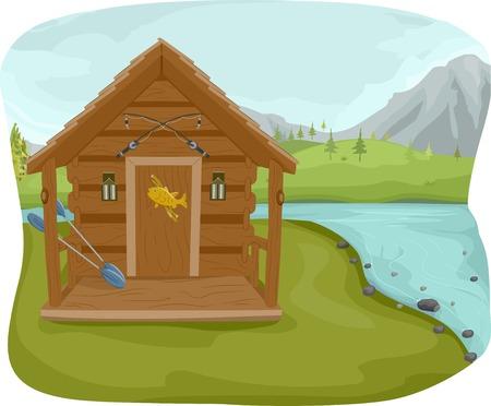 jezior: Ilustracja Featuring Cabin rybacki w pobliżu jeziora