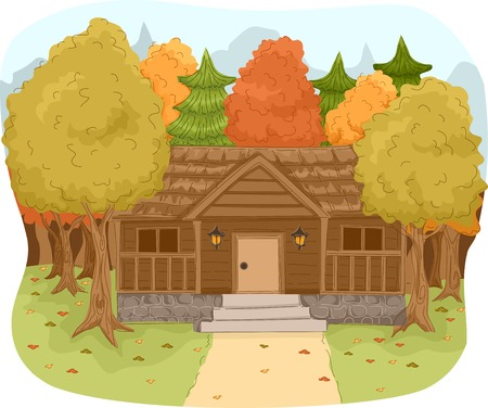 cabins: Illustration Featuring a Log Cabin in a Forest Illustration