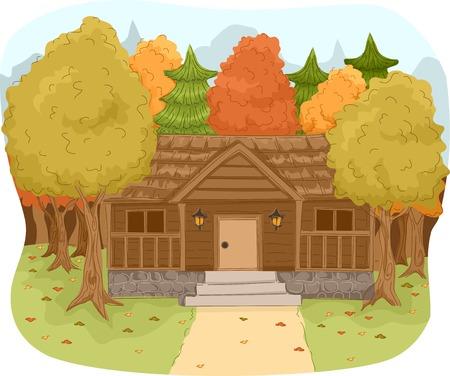 cabaña: Ilustración con una cabaña de madera en un bosque Vectores