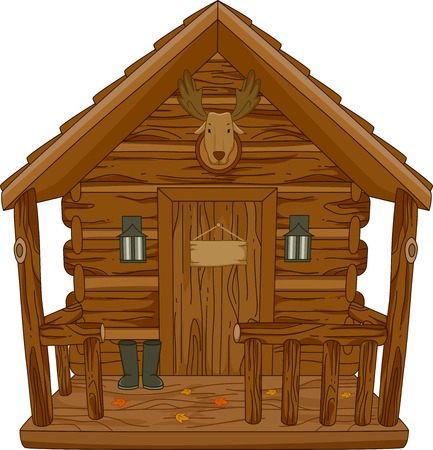 Illustration Featuring a Hunting Cabin Stok Fotoğraf - 32405876