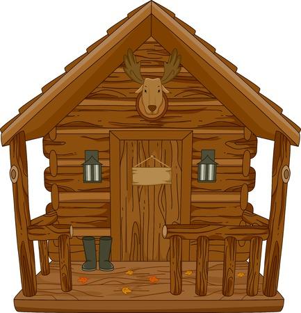 Ilustración que ofrece una cabaña de caza Foto de archivo - 32405876