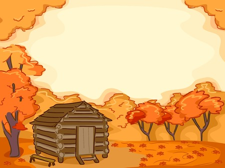 lodge: Background Illustration Featuring a Log Cabin Surrounded by Maple Trees Illustration