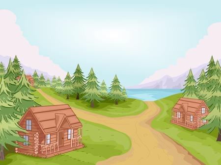 Illustration, die Log Cabins in einem Dorf