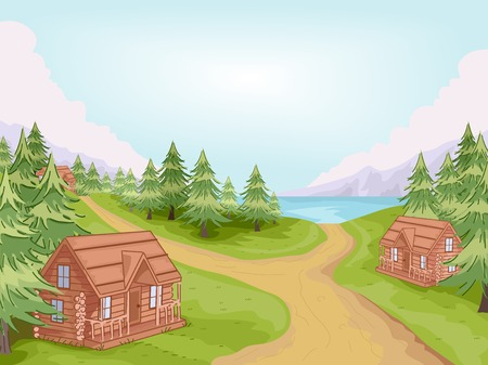 Illustration Featuring Log Cabins in a Village Vector