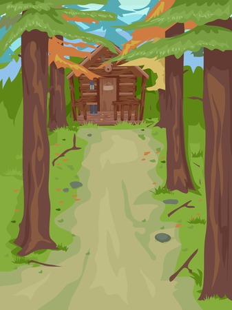 Illustration Featuring a Cabin in the Woods Vector