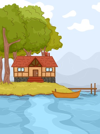 lakeside: Illustration Featuring a Log Cabin by a Lake