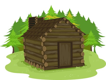 Illustrazione con una capanna di legno in una foresta