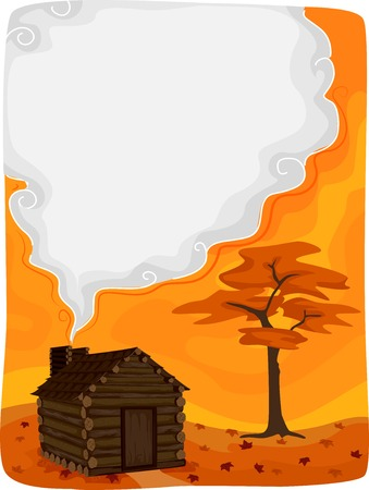 clipart chimney: Background Illustration Featuring a Log Cabin with Smoke Coming From Its Chimney