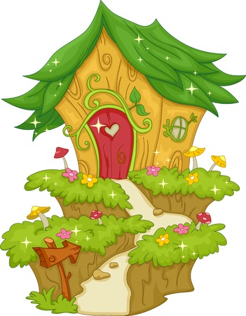 enchanted forest: Illustration Featuring a Fairy House Illustration