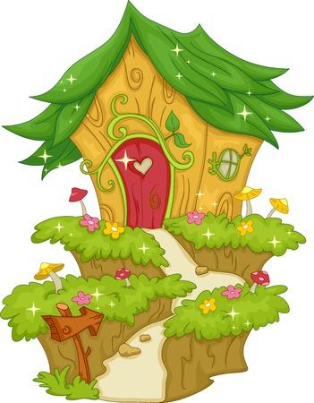 hadas caricatura: Ilustración que ofrece una casa de hadas Vectores