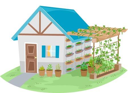 Illustration Doté d'une maison avec un jardin treillis