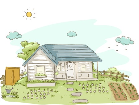 cottage garden: Illustration Featuring a House With a Vegetable Garden