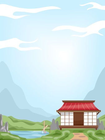 fade out: Background Illustration Featuring a House With an Oriental Design Illustration