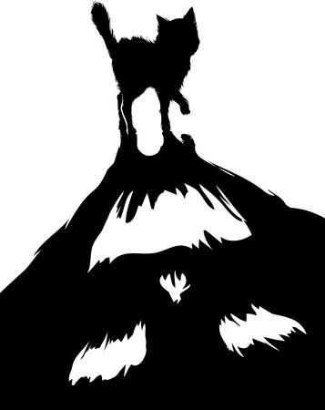 monstrous: A tema Halloween Illustrazione di un gatto nero con un'ombra Monstrous Vettoriali