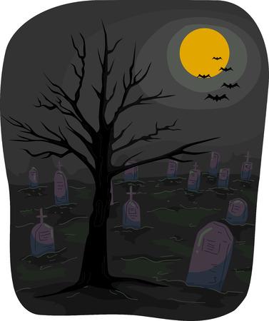 churchyard: Halloween-Themed Illustration Featuring a Graveyard