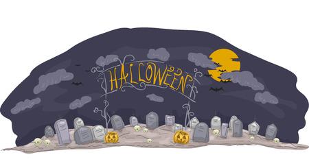 churchyard: Banner Illustration Featuring a Halloween-Themed Graveyard