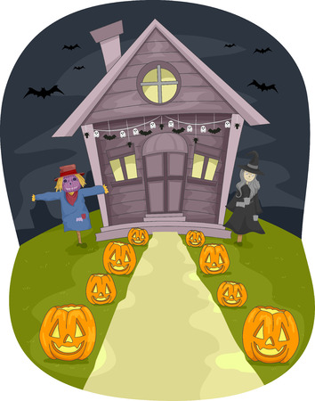 Illustration Featuring a House With Halloween Decorations Vector