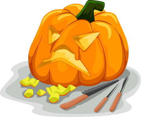typically: Illustration Featuring Tools Typically Used for Carving Pumpkins