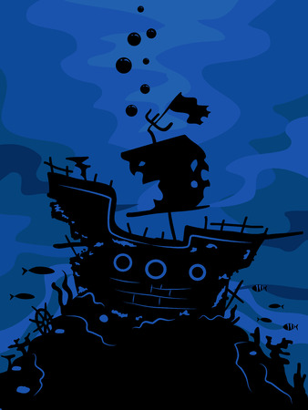 Illustration Featuring the Silhouette of a Ghost Ship Illustration