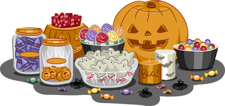 Illustration Featuring a Wide Variety of Halloween Treats Vector