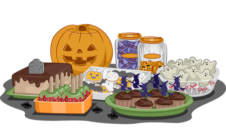 Illustration Featuring Food for a Halloween Party Vector