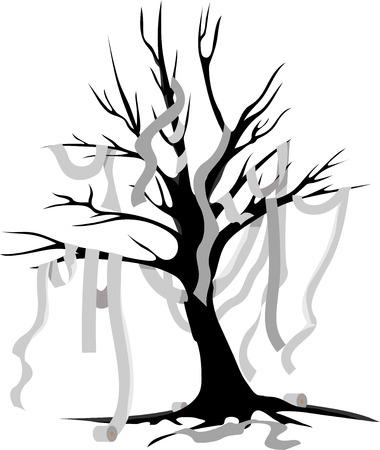 papel higienico: Ilustración que ofrece un árbol de Halloween con papel higiénico que cuelga por todas partes Vectores