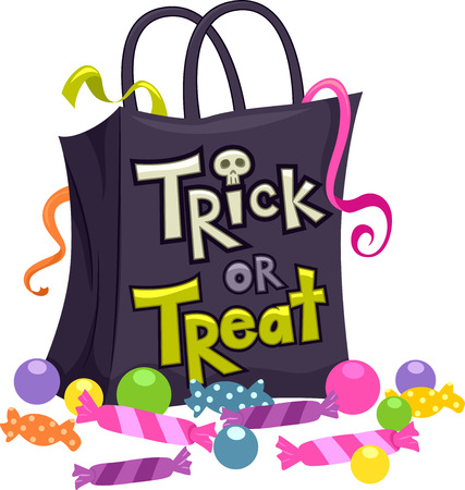 loot: Illustration Featuring a Trick or Treat Bag Surrounded by Candies Illustration