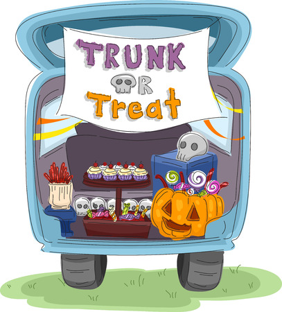 halloween pumpkins: Illustration Featuring the Trunk of a Car Decorated for Halloween