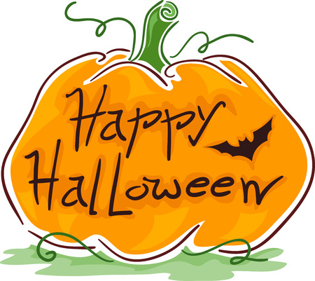 halloween greetings: Illustration Featuring a Pumpkin With Halloween Greetings Carved on It