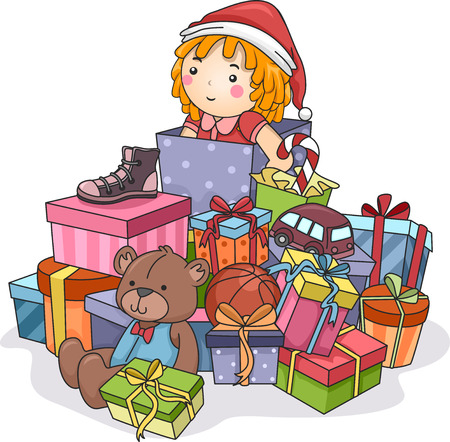 Illustration Featuring a Stack of Christmas Gifts Vector