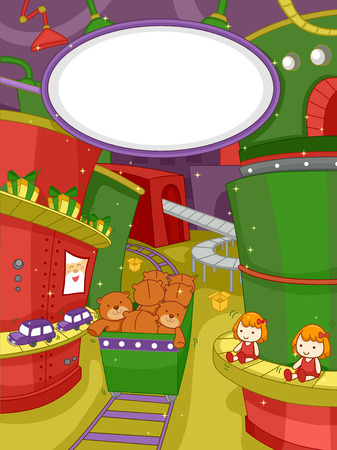 oyuncak: Bir Noel Oyuncak Fabrikası'nda bir Sahne sahip İllüstrasyon Çizim