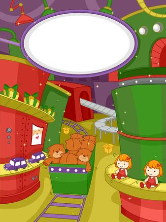 juguete: Ilustraci�n que ofrece una escena en una f�brica de juguetes de Navidad