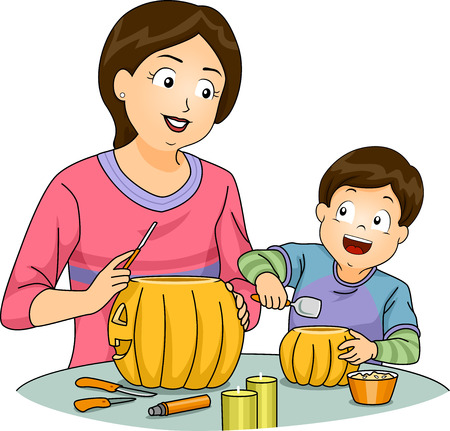 Illustration Featuring a Mother and Son Carving Pumpkins Vector