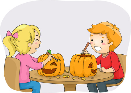 Illustration Featuring a Boy and a Girl Carving Pumpkins Vector