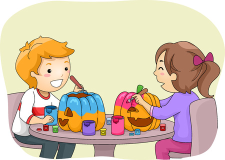 Illustration Featuring a Boy and a Girl Painting Pumpkins Vector